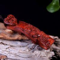 博德 如意貔貅手把件 印度小叶紫檀木雕工艺品  挂件/文玩收藏