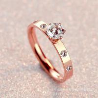 不锈钢18K玫瑰金六爪单钻戒指女韩国金色尾戒食指指环婚戒饰品