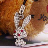 厂家直销手机链 合金镶钻 动物手机挂件  兔子手机链 2181-4