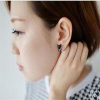 韩国日本原宿风立体珍珠动物小猫咪穿刺耳钉 男女款单个厂家批发