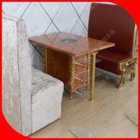 火拼热卖 厂家定做火锅店四人餐桌椅 长方形实木火锅桌子卡座沙发