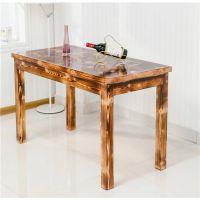 特价防腐木实木餐桌 饭桌 户外室内长桌休闲桌碳化实木桌椅可定制