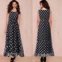 2015ebay速卖通外贸女装连衣裙背心裙黑白波点雪纺大摆系带裙