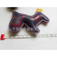厂家直供女士包包卡通PU小马挂件 韩版创意皮革小木马钥匙扣