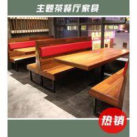 茶餐厅现代中式风格桌椅定做 方桌长条软包凳组合 海德利厂家直销
