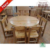 厂家直销快餐桌椅 西餐厅茶餐厅简约美观实木餐桌圆桌 运达来家具