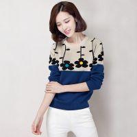 爆款2014韩版羊毛衫秋冬装新款长袖碎花针织衫套头女装毛衣打底衫