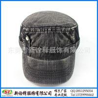 外贸出口单 秋冬欧美时尚街头挡风短檐帽 简约光身水洗平顶帽