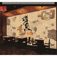 长沙景灿3D无缝复古做旧特色美食碳烤鱼涂鸦无纺布壁画 5D立体主题餐厅川菜火锅背景墙壁纸 厂家直销