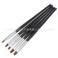 美甲工具 5支一套黑杆光疗刷光疗笔排笔套装 法式光疗甲适用