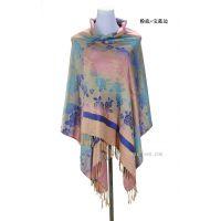 2014新款韩版秋冬民族风格女彩色玫瑰花提花围巾披肩两用厂家直销