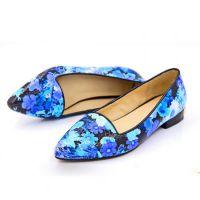 外贸春季新品尖头女鞋 真皮牛皮漆面拼色电镀低跟低帮鞋 单鞋