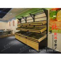 木质水果架/双层/超市水果货架/水果店货架/蔬菜水果展示架蔬菜架
