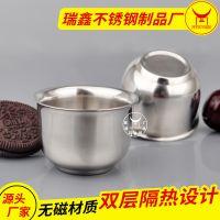 供应外贸出口双层反边迷你喇叭小杯子 隔热防摔不锈钢韩式杯