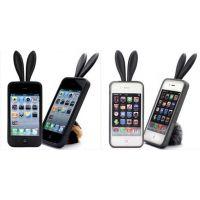【硅胶礼品】iphone4手机壳,手机壳苹果手机硅胶兔子耳朵手机套