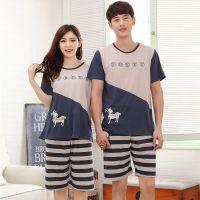 2015夏季情侣可外穿睡衣 韩版卡通男女加大码短袖短裤居家情侣装