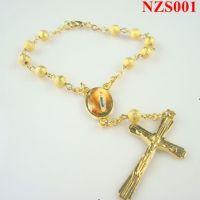 批发宗教饰品rosary bracelet铜皮珠十字架基督教手链速卖通热销