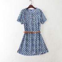 外贸原单女装 蓝印方格碎花牛仔短袖连衣裙有腰带 C852 0.20