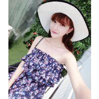 SUKI SHOP 2015夏季新品 韩国碎花荷叶边雪纺抹胸连衣裙 6A02