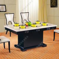 热销中 简约现代大理石火锅桌 火锅餐厅电磁炉火锅桌椅 可定做
