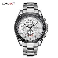 供应厂家直销LONGBO正品时尚潮流运动精钢带夜光防水男士手表8786