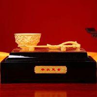 绒沙金镀24K纯金礼品摆件 创意家居装饰礼品 企业庆典馈赠礼盒包装厂家直销