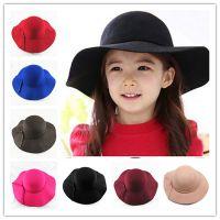 韩版儿童大檐帽高档毛呢亲子帽亲子女童女士仿羊毛礼帽一件代发