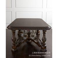 实木餐桌椅组合 欧式实木餐桌椅 手工雕花实木餐桌椅 可定制
