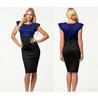 2015速卖通ebay热卖欧美性感包臀明星同款 泡袖正品绷带礼服裙