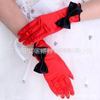 供应新品晚礼服手套S46红+黑拼色短款蝴蝶结 演出 情趣 派对专用手套