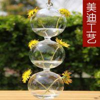 美迪创意葫芦花瓶 透明玻璃水培花器 现代家居饰品