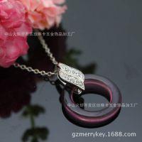 紫水晶树叶配件项链女锁骨链女短款毛衣挂件链韩版时尚百搭饰品
