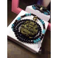 天然金曜石 精雕龙吊坠 天然黑玛瑙 绿松石 女款长项链 毛衣链