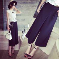 小银子2015夏装新款设计款不规则垂坠显瘦休闲阔腿九分裤女K5148