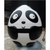蛋形熊猫雕塑 广场景观卡通熊猫雕塑 玻璃钢雕塑厂家
