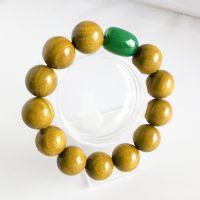 绿檀佛珠 绿檀手串 绿檀手链 搭天然玛瑙14mm招财进宝 一条起批