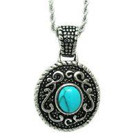 jewelry 复古时尚新款饰品 天然绿松石钛钢项链 现货出售SP046