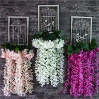 批发 仿真绣球藤条壁挂绢花窗帘装饰花婚礼布置家居客厅吊藤假花