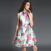 B27实拍工厂直销欧洲站2015夏季新款无袖印花雪纺连衣裙