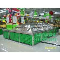 超市水果货架豪华三层蔬菜架钢木结构蔬菜架双层木质水果店货架