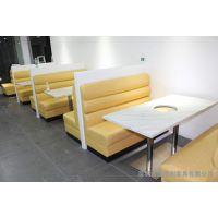 简约沙发 多人位真皮沙发 小黑牛火锅餐厅卡座沙发 热卖