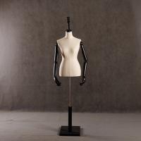 厂家优惠价出售美力半身包布模特 女款黑色木手亚麻包布半身模特衣架(M-85)