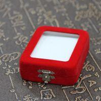 DIY配件 红色绒布玻璃面珠宝饰品首饰盒吊坠盒挂件盒玉器包装盒