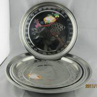 55cm不锈钢特大圆形盘 葡萄花纹0.6厚糕点盘 酒店饭店专用圆盘