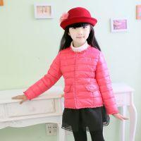 冬季保暖羽绒服 韩版纯色运动女儿童羽绒服外套 淘宝热卖