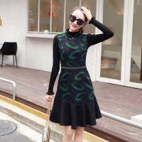 秋冬新款时尚女装潮流韩版 时尚长袖毛衣两件套连衣裙套装W11N53