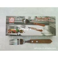 木柄调羹 木柄叉 木柄牛排刀 12件套盒装 餐具 刀具 西餐用具