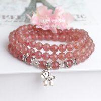 鹏塬原创  天然草莓晶多层手链 925纯银 小马 粉色手串 招桃花