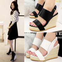3213夏季新款欧美风时尚性感高跟鞋露趾坡跟鞋凉鞋草编松糕女鞋