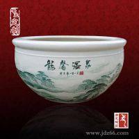景德镇唐龙陶瓷大缸,手绘书画陶瓷缸,定制养生缸